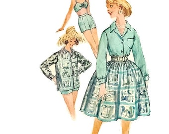 1960s Bra Top Pattern, Shirt and Skirt, Bust 32, Sizes 12, Simplicity 3439, Women Sewing Pattern