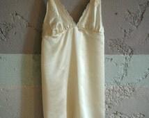 Cream silk nightgown with dainty lace trim, everyday luxury, Valentine's day, wedding sleepwear,