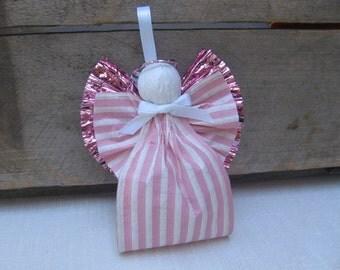 Pink Angel Ornament, Paper Ribbon Angel, Tree Ornament, Pink Striped Paper Angel, Christmas Ornament, Pink Angel, Christmas SnowNoseCrafts