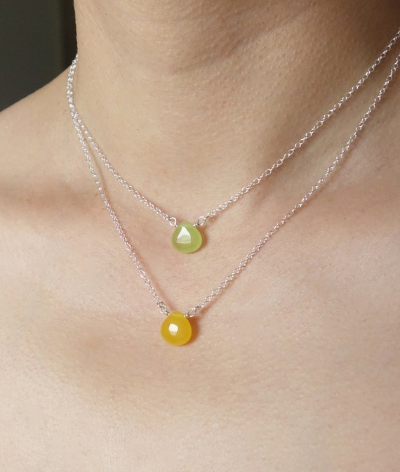 Green Yellow Candy Jade Teardrop Layering Necklace Set Light Stone Sterling Silver Hand Wrapped Popsicledrum Multi Strand