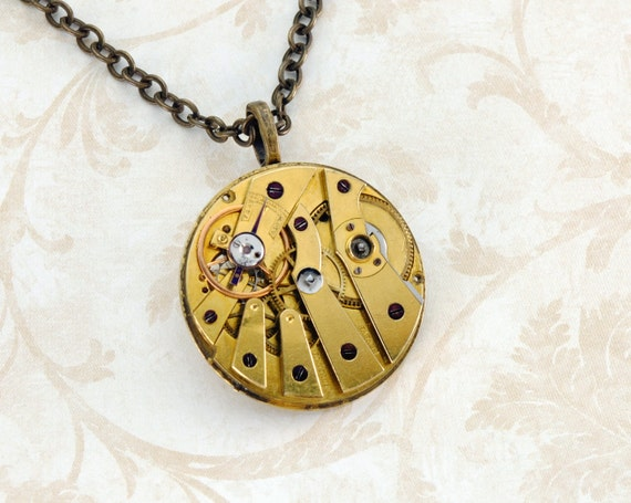 MOULINIE Steampunk Necklace GILT Pocket Watch Necklace GOLD Industrial Necklace Jewelry For Men Steam Punk Jewelry by Victorian Curiosities