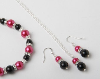 Black and Fuchsia Bridesmaid jewelry set, pearl earrings and necklace set, Black and Fuchsia wedding Jewelry, bridesmaid jewelry, hot pink