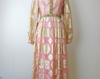 1970s Pink and Gold Lame Dress