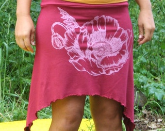 Organic Passion Flower Screen Printed Pixie Skirt Ruby Red Cotton Soy Spandex USA Made New