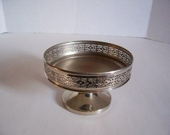Vintage ROYAL ROCHESTER 1206 Candleholder Footed Silvertone for Pillar Candle