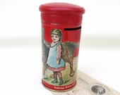 Vintage Tin Bank / Crayon Holder / Metal Coin Bank / Girl Dog Decorative Tin