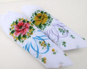 Vintage Hankies, Ladies Handkerchiefs, Purse Accessories, Pink Yellow Roses, Set of 2