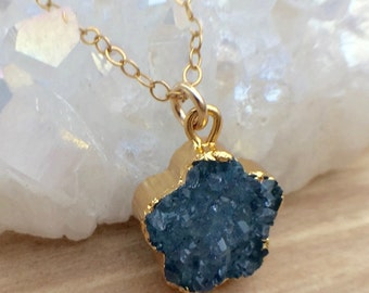 Turquoise Gold Druzy Pendant Necklace Blue Druzy Crystal Necklace 14k Gold Filled Charm Necklace Clover Gemstone Necklace Blue Raw Crystal