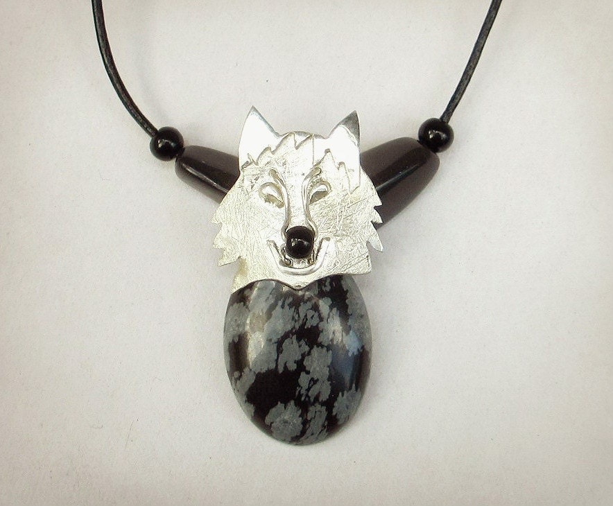 wolf necklace snowflake obsidian pendant wolf pendant