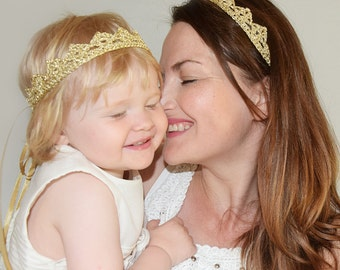 Matching Mommy Daughter Gold Crown Headbands, Set of 2 Princess Tiaras for Mommy and Me, Crown Headband Adult and Baby, Baby Shower Gift