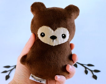 Brown Bear Plushie. Teddy Bear, Grizzly Bear Plush, Bear Stuffed Animal, Small Bear Softie, Woodland Plush Toy, Bear Cub Doll, Minky Plush
