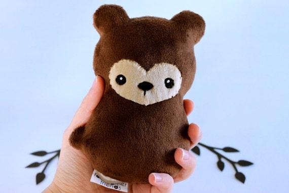 Brown Bear Plushie. Teddy Bear, Grizzly Bear Plush, Bear Stuffed Animal, Small Bear Softie, Woodland Plush Toy, Bear Cub Doll, Minky Plush