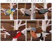 British birds set one PDF pattern, felt, sewing, sew your own, tree decorations, ornaments, blue tit, gull, chaffinch, nuthatch, robin