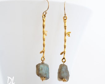 Raw Labradorite Earrings - Rough Stone Dangle Earrings - Long Drop Earrings - Boho Chic Jewelry - Raw Crystal Earrings