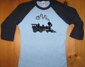 Halloween Costume T shirt - Kids Halloween Shirt - Pumpkin Train - Boys or Girl Halloween 3/4 Long Sleeved Top - Trick or Treat
