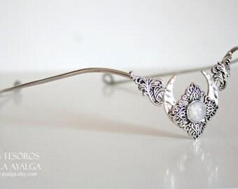 Elven moon tiara with moonstone
