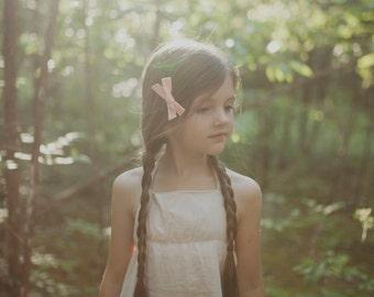 Peach Hand Tied Bow Clip - Baby Girl Kid Hair Bow - School Girl Bow
