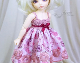 OOAK Pink & burgundy dress for TINY bjd LittleFee Momocolor 29, Saintbloom