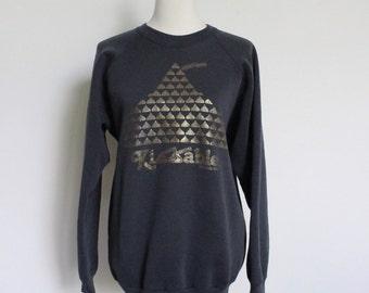 Vintage Sweatshirt // Raglan Sweat Shirt Black Hershey Kiss Kissable // 50 50 Made in USA