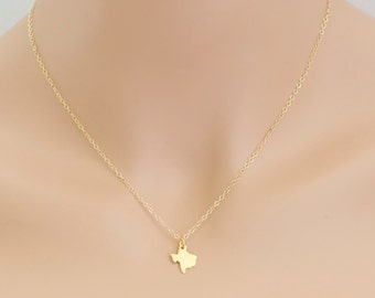 Texas Necklace Gold State of Texas