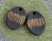 Ceramic earring charms ~ handmade black stoneware earrings, jewellery making supplies, ceramic findings for jewelry making, clay charms