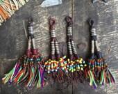 Fringe & Beads Tuareg Goat Leather Tassel, Boho Jewelry Making Pendant, Supply, Leather Tassel Fringe Keychain, Purse Charm, JuJu