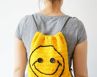 Smiley Bag Kid Bag Kindergarten Bag Child Bag Children Bag School Bag Funny Bag Yellow  Bag Children  Backpack Gym Bag Sport bag Laptop Bag