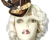 Witch Doctor Voodoo Mini Brown Top Hat Fascinator Skull Bones Steampunk Gypsy Victorian