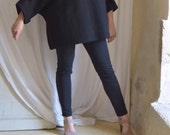 Private Listing for Noreen - Black Tunic in Boiled Wool - Raglan Wide Sleeves - Last of stock