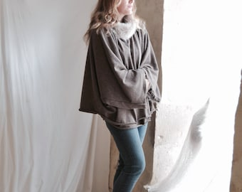 SALE Poncho Top with Shearling Fur collar in Taupe Brown - Ready to ship