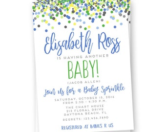 Boy Sprinkle Shower Invitation - Baby Shower Invitation - Boy Sprinkle Invite