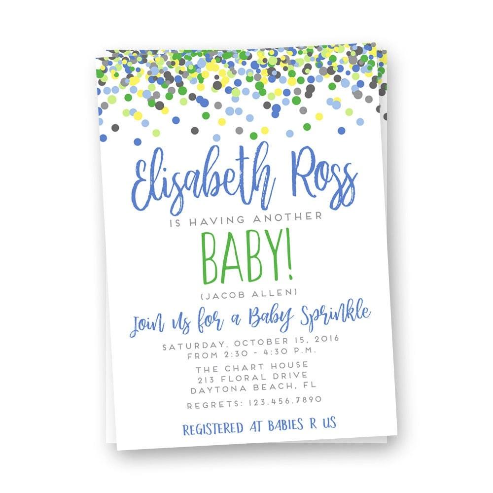 Boy Sprinkle Shower Invitation Baby Shower Invitation Boy