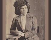 Edwardian Beauty- 1900s Antique Photograph- Woman Wearing Photo Pin- Shirtwaist Dress- Real Photo Postcard- RPPC- Paper Ephemera