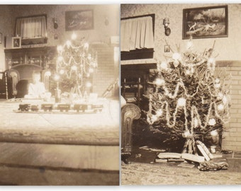 Christmas Train- 1920s Antique Photographs- SET of 2- Presents Under Tree- Holiday Decor- Found Photos- Vernacular Snapshots- Paper Ephemera