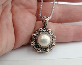 925 Silver 9K Rose Gold Pearl Pendant, Vintage Silver Pendant, Pendant With Chain, Round Pendant, White Pearl Silver Pendant, Free Shipping
