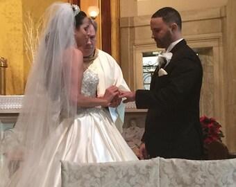 Bridal Veil Swarovski Crystal Rhinestone Sheer Cathedral Wedding Veil with Blusher