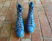 Vintage Mens 6.5 Sno Sneaker Lace Ups Sneakers Blue Hightops Snow Boots Boot Bootie 70s Runner Unique Rare Preppy Hipster Sports Shoes Mod