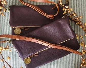 READY TO SHIP: Original Slim Leather Crossbody Purse / Foldover Clutch - Italian Leather (avail in multiple colors)