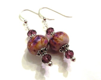 Pink & Purple Lampwork Earrings With Purple Swarovski Crystals, Purple Earrings, Pink Earrings, Lampwork Jewelry, Crystal Earrings