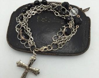 Religious Charm Bracelet Religious Bracelet Cross Bracelet Mixed Chain Bracelet