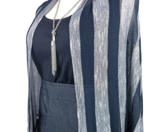 Plus Size cardigan - over sized vest - Trendy cocoon cardigan - black & silver striped knit - Plus size up to 3x