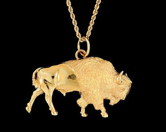 14k Yellow Gold American Bison Pendant or Necklace (Optional Chain)