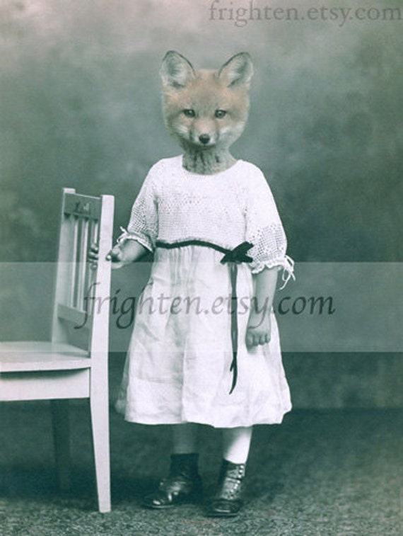 Fox in Dress Art Mixed Media Collage Anthropomorphic 8.5 x 11 Inch Print, Nursery Decor, Animal in Clothes