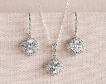 Crystal Bridal Set, Bridesmaids Jewelry Set, Cushion Cut Crystal Pendant and Earrings, Wedding Jewellery, Molly Bridal Jewelry SET