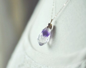 gold dipped amethyst necklace.