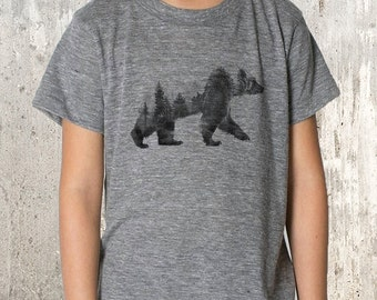 Kid's T-Shirt - Bear and Forest Double Exposure Photograph - American Apparel TriBlend T-Shirt