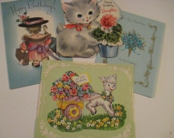 Four Vintage Birthday Cards Hallmark Rust Craft Childrens Greeting Card Made in USA Kittens Lambs Niece Daughter YourFineHouse