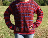 Sweater Warm Blue and Red Plaid