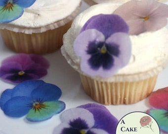 "Edible wafer paper pansy for cakes, 24 assorted colors pansies. 1.5""-2"" wafer paper flower cupcake toppers. Good for vegan cakes and cookies"