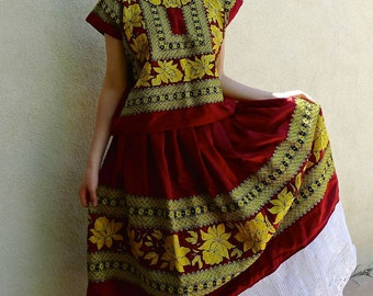 Mexican Collectors Tehuana Traje/outfit classic maroon satin + gold/black floral cadinella /geometric embroidery - SML/Med Frida Kahlo-
